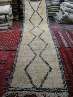 Beni Ourain runner by Imports from Marrakesh www.importsfrommarrakesh.com {hand-woven natural sheep's wool  ivory & ebony}