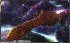 Powering up Warp Engines. Spaceship Art, Spaceship Design, Cyberpunk City, Futuristic City, Warhammer 40k Art, Warhammer Models, Post Apocalyptic City, Battlefleet Gothic, Sci Fi Spaceships