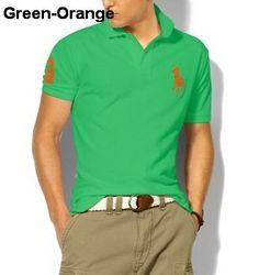Ralph Lauren Men Custom-Fit Big Pony Polo Green Orange