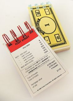Upcycled Monopoly notebooks - set of 2 notebooks made from Monopoly money and Fleet Street Property Card
