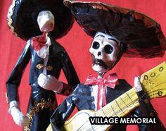 Dia De Los Muertos Skeleton Mariachi Ofrenda by VillageMemorial.