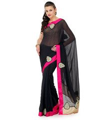 Black Faux Georgette Saree | Fabroop USA | Store for Trendy Sarees Usa Store, Trendy Sarees, Georgette Sarees, Clothing, Black, Dresses, Fashion, Outfits, Vestidos