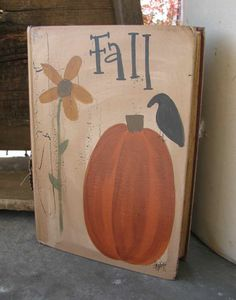 Primitive Fall Sunflower and Pumpkin Hand by GainersCreekCrafts