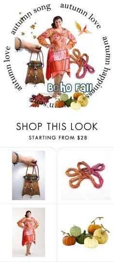 Fall Boho chic - Plus Fashion by erika-hodi on Polyvore featuring Home Decorators Collection #tapestrybag #upcyckleddress #ombrescarf #silkscarf #boho #fallfashion #plussizefashion #autumnsong