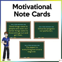 School can be tough sometimes and can be difficult for our students. Help your students to stay motivated, inspired, and learn from these difficulties.Our motivational note cards are a great reminder to help the students process their experiences, challenge them to think positively, and promote a m...