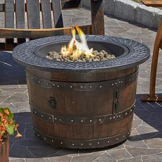Reclaimed Whiskey Barrel Fire Pit at Wine Enthusiast - $1,495.00