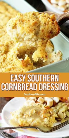 Thanksgiving Recipes, Fall Recipes, Holiday Recipes, Thanksgiving Table, Dinner Dishes, Food Dishes, Side Dishes, Easy Cornbread Dressing, Stuffing Recipes