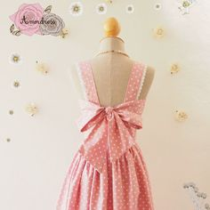 Fairy Wings Pink Summer Dress Polka Dot Dress Vintage by Amordress