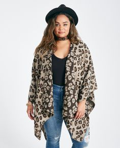 Wet Seal Plus Size Leopard Print Poncho Brown Pattern -size OSFA