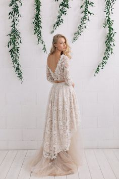 Lace Wedding Dress Bohemian Wedding Dress Ivory by JurgitaBridal