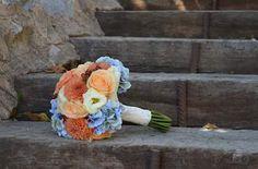 Ramo de verano :hortensias, dalias, lisianthus  y rosas.