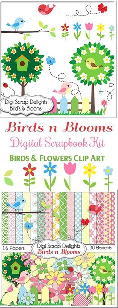 Birds n Blooms Scrapbook Kit for Digital Scrapbooking Card Making, Crafts, Party Favors, etc. Birds Flowers Clip Art, Instant Download
