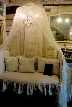 day bed! linen! ruffles! crochet! crown! chandi! Love!