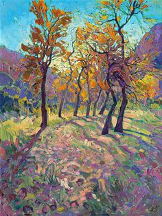 Zion National Park landscape painting by contemporary impressionist Erin Hanson