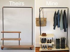 DIY Industrial Shoe and Coat Rack Inspired by Urban Outfitters : DIY Industrial Shoe and Coat Rack Inspired by Urban Outfitters - 30 Best Of Diy Coat Rack Shelf Ideas Diy Clothes Rack Wood, Pipe Clothes Rack, Diy Clothes Hangers, Clothes Drying Racks, Hanging Clothes, Clothes Storage, Storage Room, Storage Boxes, Storage Ideas