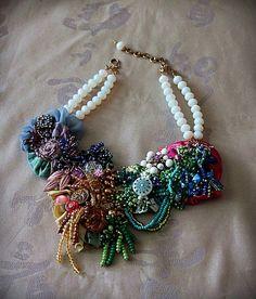 ROSE GARDEN Mixed Media Floral Beaded Textile ♥ by carlafoxdesign, $345.00