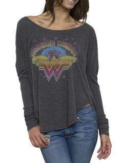 Junk Food Clothing - Women's Collections - Superheroes - All - Wonder Woman Vintage Inspired Long Sleeve Drape Tee