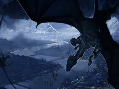 Harry on a Thestral flying over London from The Order of the Phoenix