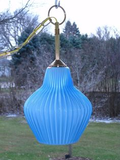 Vintage Blue Cased Ribbed Art Glass Hanging Swag Lamp Light ITALY