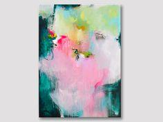 Original extra große abstrakte Malerei, moderne Kunst, kräftige Farben, Acrylgemälde auf Leinwand, rosa rose dunkel grüne Kunstwerke