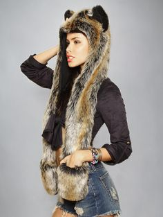 SpiritHoods Official Website | Red Wolf SpiritHood | Faux Fur Red Wolf Hood | $99.00