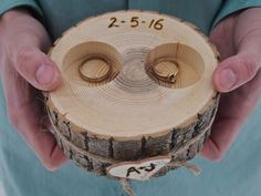 This listing is for a Personalized Wooden Ring Holder. My husband will make each holder out of Ash Branches, each will vary slightly. All slices will be approx. 4-1/2 inches wide x 2 inches tall (some may be larger or slightly smaller). There are two drilled holes in the holder, to simply slip your rings in and out of. For a Touch of Country Charm we tied the holder with Jute Twine and added a White Birch Heart Cutout, with your initials.  I will personalize each holder, by hand burning on…