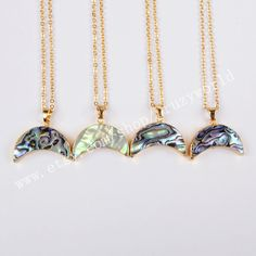 Wholesale Gold Plated Boho Abalone Shell Moon Necklace Rainbow Shell Necklace Peacock Sea Shell Crescent Gemstone Making Jewelry G0461-N by Druzyworld on Etsy