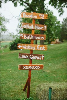 New York DIY Barn Wedding - signs (great when bathrooms are a bit further away) Farm Wedding, Diy Wedding, Wedding Reception, Wedding Venues, Dream Wedding, Wedding Ideas, Wedding Stuff, Reception Signs, Garden Wedding
