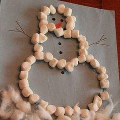 Marshmallow Snowman Craft Snowman Crafts, Xmas Crafts, Christmas Crafts For Kids, Daycare Crafts, Toddler Crafts, Fun Crafts, Preschool Crafts, Preschool Winter, Preschool Ideas