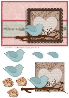 Bird on a Branch on Craftsuprint designed by Diane Hannah - This sheet has decoupage elements, is fast and easy to make, and is great for many occasions. - Now available for download!