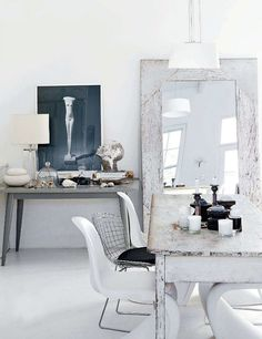 cape town eclectic / elle decoration UK. Dining Room. Mirror. Marble Table. White. Home. Decor. Design. Interior.