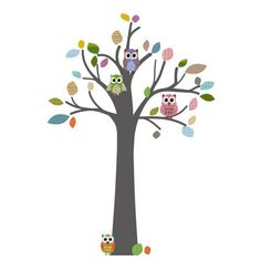 Muursticker boom Retro met uiltjes en bladeren van het merk DecoDeco. Mooie retro muursticker boom met uiltjes voor kinderkamer of babykamer.