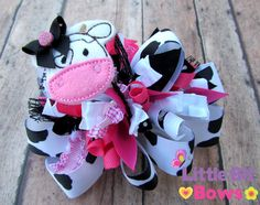 Black White and Pink Cow Feltie Boutique Funky by LittleBitBows, $11.99
