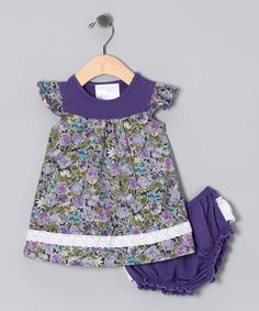 Take a look at this Mythereal Purple Floral Dress & Diaper Cover - Infant on zulily today!
