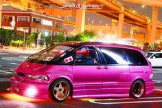 TOYOTA Estima sotomuki sound car, pink color and 7 built in speaker with 1 LCD, blue lighting Toyota Van, Toyota Previa, Van Design, Soccer Practice, Van Camping, 50cc, Bmw M4, Built In Speakers, Japanese Cars