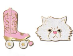 I'm really terrible about surprises and just couldn't wait to show you the two pins I have in the works! I wasn't kitten you about a cat pin. Available for preorder today! (Oh and the wheels on the skates and the cat are white glitter enamel! ) #pins #pingamestrong #enamelpins by abbeyeilermann