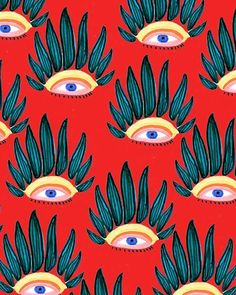 Jungle Eyes by Bouffants and Broken Hearts Art And Illustration, Illustrations, Art Pop, Psychedelic Art, Art Du Collage, Art Design, Graphic Design, Pattern Art, Surface Pattern Design