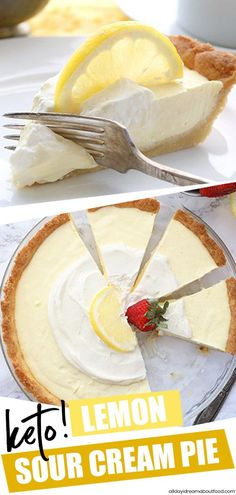 Keto Lemon Sour Cream Pie Oh my, Lemon Pie! This creamy sugar-free lemon pie is absolutely divine. A grain-free crust made with almond flour, filled with a lemon sour cream custard. It's the perfect low carb lemon dessert recipe. Lemon Dessert Recipes, Cream Pie Recipes, Sugar Free Desserts, Lemon Recipes, Sugar Free Lemon Pie Recipe, Lemon Sugar, Jello Recipes, Potato Recipes, Vegetable Recipes