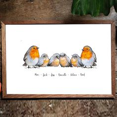 Robin Family Name Prints – Teenie Wee Baby Robin, How To Draw Hands, Presents, Names, Drawings, Illustration, Artist, Handmade, Gifts