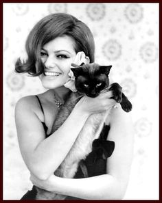 """Italian actress Claudia Cardinale and """"Annex"""" her Siamese."""