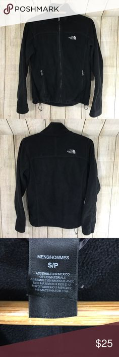 """North Face fleece zip up coat jacket Black North Face fleece zip up jacket . Men's small but I wore this as a women's M 😊 24"""" long 20"""" chest North Face Jackets & Coats"""