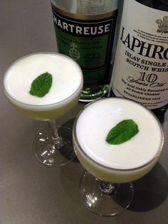 Vauvert Slim: grapefruit juice, Green Chartreuse, lime juice, mint leaves, egg white, Laphroaig rinse.
