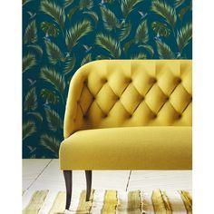 Papermint Traditional Jungle Wallpaper Petrol blue