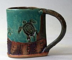 Handbuilt Stoneware Turtle Mug by PotterybyHelene on Etsy, $28.00