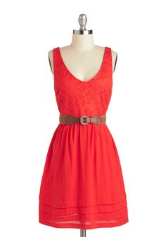 Persimmon to Talk About Dress - Red, Solid, Lace, Belted, Casual, A-line, Tank top (2 thick straps), V Neck, Cotton
