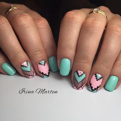 Blue and Pink Studded Geometric Nail Art. Get you nails painted with this Pastel Blue and Pink Studded Geometric Nail Art. Get you nails painted with thisPastel Blue and Pink Studded Geometric Nail Art. Get you nails painted with this Popular Nail Designs, Cute Nail Art Designs, Simple Nail Designs, Stylish Nails, Trendy Nails, Cute Nails, Geometric Nail Art, Autumn Nails, Cool Nail Art