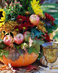 fairytale pumpkin, apples, mums, sunflowers, hypericum berries