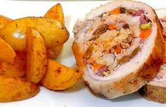 Es delicioso plano que es muy fácil y rápido de hacer. Puedes aprender cómo cocinarlo paso a paso con un famoso cocinero Tonio.    Ingredientes  Para hacer el relleno de carne: + 1 lomo de cerdo de 1.200 g, + 12 lonchas de pancetta o bacon, + 2 zanahorias, + 50 g de jamón serrano en tacos,