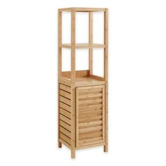 Add style and practical storage utility to your bathroom with this Haven Bamboo Tower Cabinet. With a height-adjustable interior shelf behind a single door plus 2 fixed open upper sheves, this tower offers plenty of room for bathroom essentials. Freestanding Bathroom Shelves, Bamboo Bathroom, Bathroom Storage, Bathroom Ideas, Small Bathroom, Kids Outdoor Furniture, Bamboo Furniture, Bathroom Furniture, Bamboo Shelf