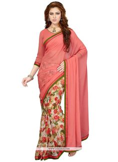 Fashion and trend will be at the peak of your splendor once you attire this multi colour faux chiffon casual saree. This appealing dress is displaying some terrific embroidery done with print work. Co...